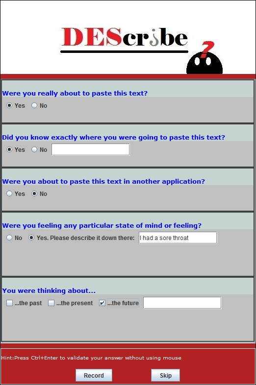 Questioning interface
